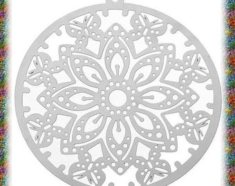 10 pendants round prints butterflies cut in stainless steel