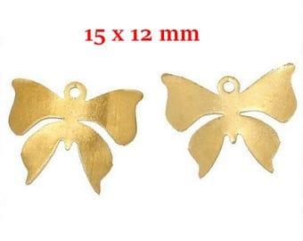 10 Golden brass Butterfly pendants
