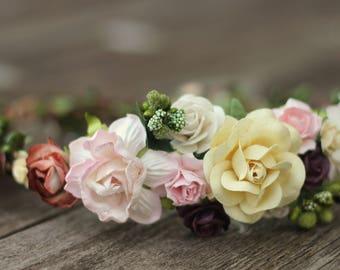 Floral Crown Earth Tone Hair Wreath Ivory Flower Crown Plum Wedding Cream Bridal Hair Olive Green Wedding Headpiece Woodland Blush Wreath