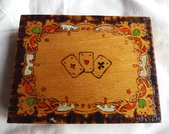 Vintage Handmade Wooden Playing Cards Box - NEW