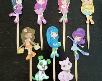 Strawberry Shortcake cupcake toppers - set of 12 double-sided