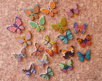 Wooden Butterfly Button Assortment