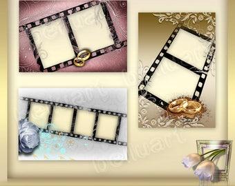 3 WEDDING Frames Vol. 3 - Photoshop Frames - Digital Frame Clip Art Frame Wedding  - Photoshop Overlay Frame - photography overlays - PNG