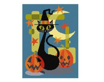 Halloween Black Cat - Durene J Cross Stitch Pattern - DJXS2228