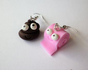"""Earrings fimo funny: """"the POO and her pink toilet paper"""" depareillees"""