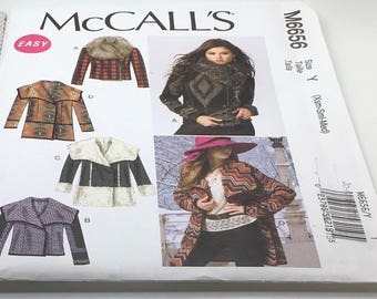 McCall's Sewing Pattern M6656 6656 Unlined Jackets Coats Loose Fitting Front Extending Into Collar Boho Style  Princess Seams Size XS S M