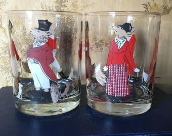Vintage cera glasses etsy cera fox hunting highball glasses vintage set of 2 gumiabroncs Image collections