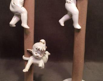 3 Vintage Angel Candle Huggers Holders Japan