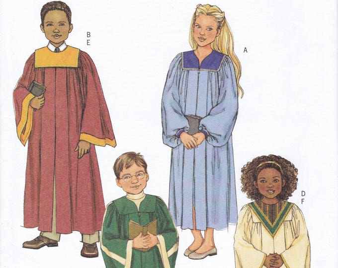 FREE US SHIP Butterick 4542 Sewing Pattern Boy Girl church choir robe collars ankle Length Factory Folded Size 7 8 10 12 14 New Uncut