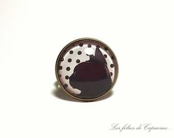 cabochon glass • cat black