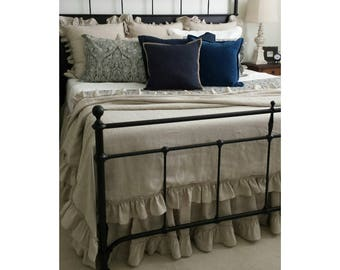 Linen Duvet Cover with Country Ruffle Hem all the way around, inspired by the traditional trellis bedroom, multiple colors