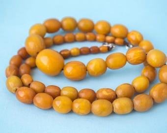 43 gr. Antique Baltic amber necklace butterscotch egg yolk amber old honey vintage art deco amber necklace (Bernstein Natürliche 琥珀 波羅的海的)
