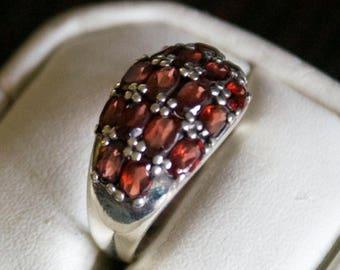 ON SALE Fine Garnet Silver Ring