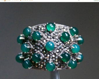 ON SALE Beautiful Green Onyx, Marcasite Silver Ring