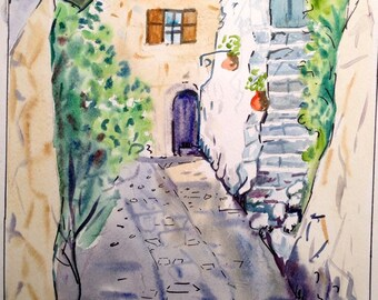 Watercolor Handmade Village Street Painting on Paper
