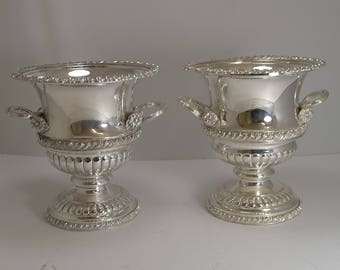 Pair Antique English Silver Plated Wine or Champagne Coolers c.1900