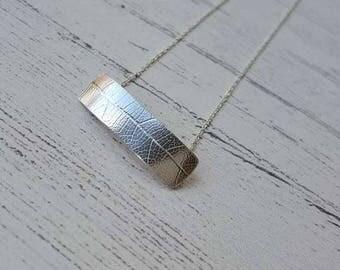 Leaf Print Bar Necklace - Sterling Silver - Nature Necklace - Handmade Necklace - Nature - Bridal Jewellery - Leaf Print - Bar Necklace - UK
