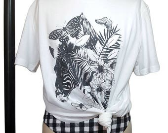Oversized Tshirt, Zebra Print, Cover Up, Boyfriend Tee, Unique Tropical Design, Printed on to 100% Soft Organic Cotton (Eco Friendly) :)