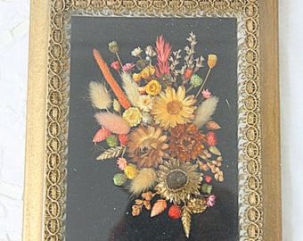 Vintage Framed Flower Bouquet under Glass, Gilded Wooden Frame, Lace Rim