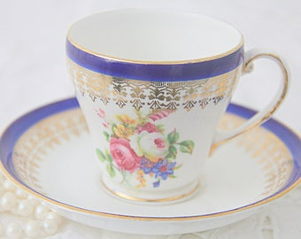 Vintage Royal Grafton Bone China Cup and Saucer, Flower Decor, England