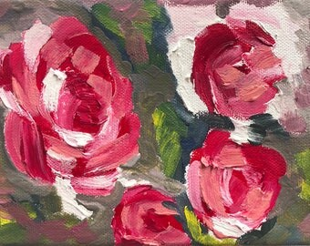 """Abstract Rose Painted In Oil """"5X7"""" Gallery Wrapped Canvas 