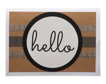 Hello Blank Greeting Card - White, Black & White