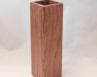 square bubinga wood vase