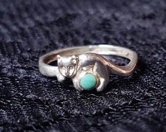 Vintage Sterling Silver Cat and Ball Band Ring Size 7