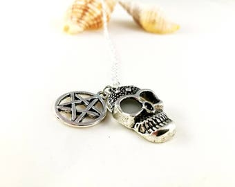 Witchcraft Steampunk Mexican Skull Pentacle Necklace For Her Punk Dark Gothic