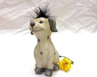 O Canada Sale Mid Century Porcelain Dalmation Puppy with Hair of Feathers  1950's