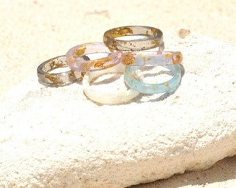 Resort Rings with 23k Gold and Silver flakes by Bahamian Designer