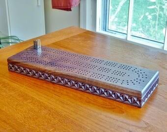 Cribbage board with 3 tracks | walnut Cribbage board | carved Cribbage board