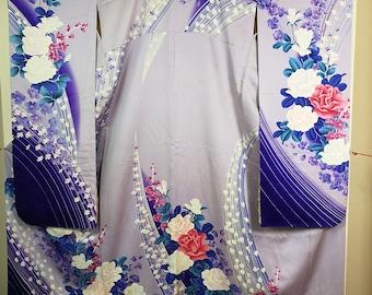 REDUCED Rose Furisode Traditional Japanese kimono