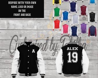 Personalised Custom Varsity Jacket - Name and Number - Unisex - Kids - Teens - customised gift