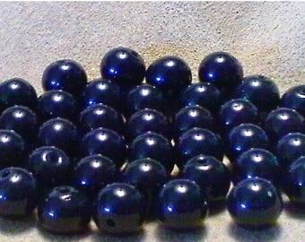SALE Navy blue glass beads; beautiful deep dark, navy blue glass rounds, 8mm, 12pcs/1.80.