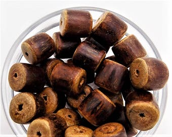 Wood tube beads; chunky and rustic, mahogany wood branch beads, 10x10mm, 9pcs/1.60.
