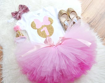 Pink and Gold Minnie Mouse First Birthday outfit, minnie mouse tutu, ombre tutu, Pink minnie mouse, smash cake outfit
