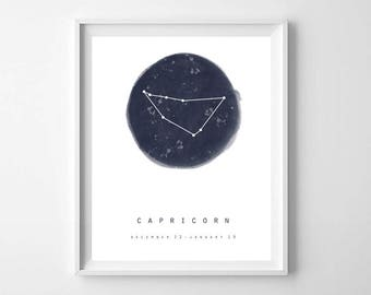 Capricorn Zodiac Sign Art,Printable art,Capricorn Constellation,Zodiac Constellation Print,Star Chart,Astrology Print,Zodiac Printable
