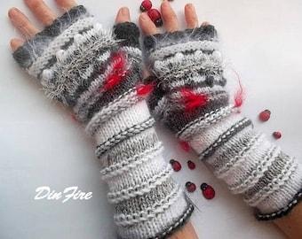 Women L 20% OFF Bohemian Fingerless Boho Mittens OOAK Romantic Hand Knitted Gloves Striped Accessories Feminine Wrist Warmers Winter 877