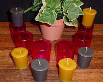 Homemade Set of 6 votive candles and 6 pink glass holders