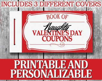 Printable Naughty Coupon Book, Erotic Anniversary Gift for Him DIY Boyfriend Valentines Day Gift, Last Minute Birthday Gift for Husband