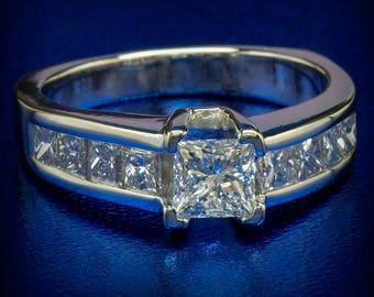 Diamond Ring 1.61 ctw Natural Princess Diamond Engagement Promise Wedding Ring 14k White Gold