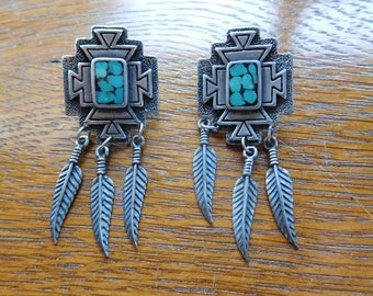 Vintage Southwestern Turquoise and Feather Earrings