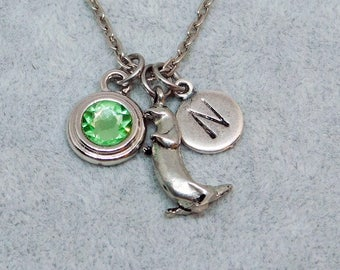 Otter necklace, swarovski birthstone, initial necklace, birthstone necklace, initial charm