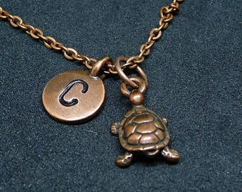 Copper Turtle with Initial necklace, personalized necklace