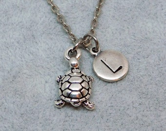 Silver Turtle with Initial necklace, initial charm, turtle charm, turtle pendant, personalized jewelry