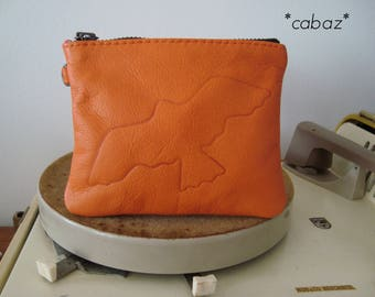 Leather clutch, Orange, swallow engraved on leather