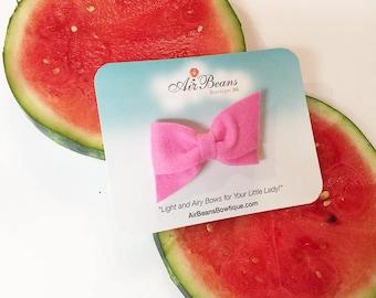 Pink Hand Folded Bow - Pink Bow - Hand Folded Hair Bow - Small Bow Headband - Small Bow Clip - Small Bow - Criss Cross Bow - Felt Bow