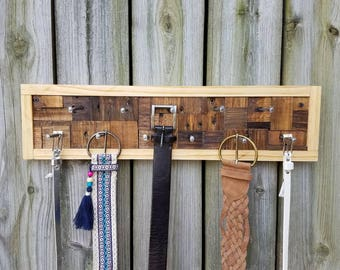 Wood Mosaic Belt/Accessory Rack. Decorative Belt/Tie Rack. Wall Mount Belt