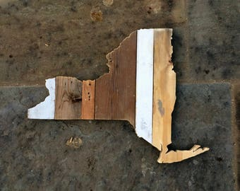New York Reclaimed Wood State Outline Wall Art - Large